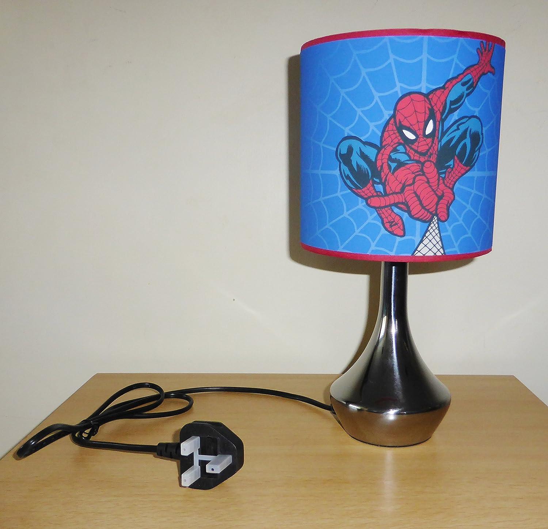 SPIDERMAN - BEDSIDE LAMP - BOYS BEDROOM LIGHT / LAMP SHADE ~ BLUE ...
