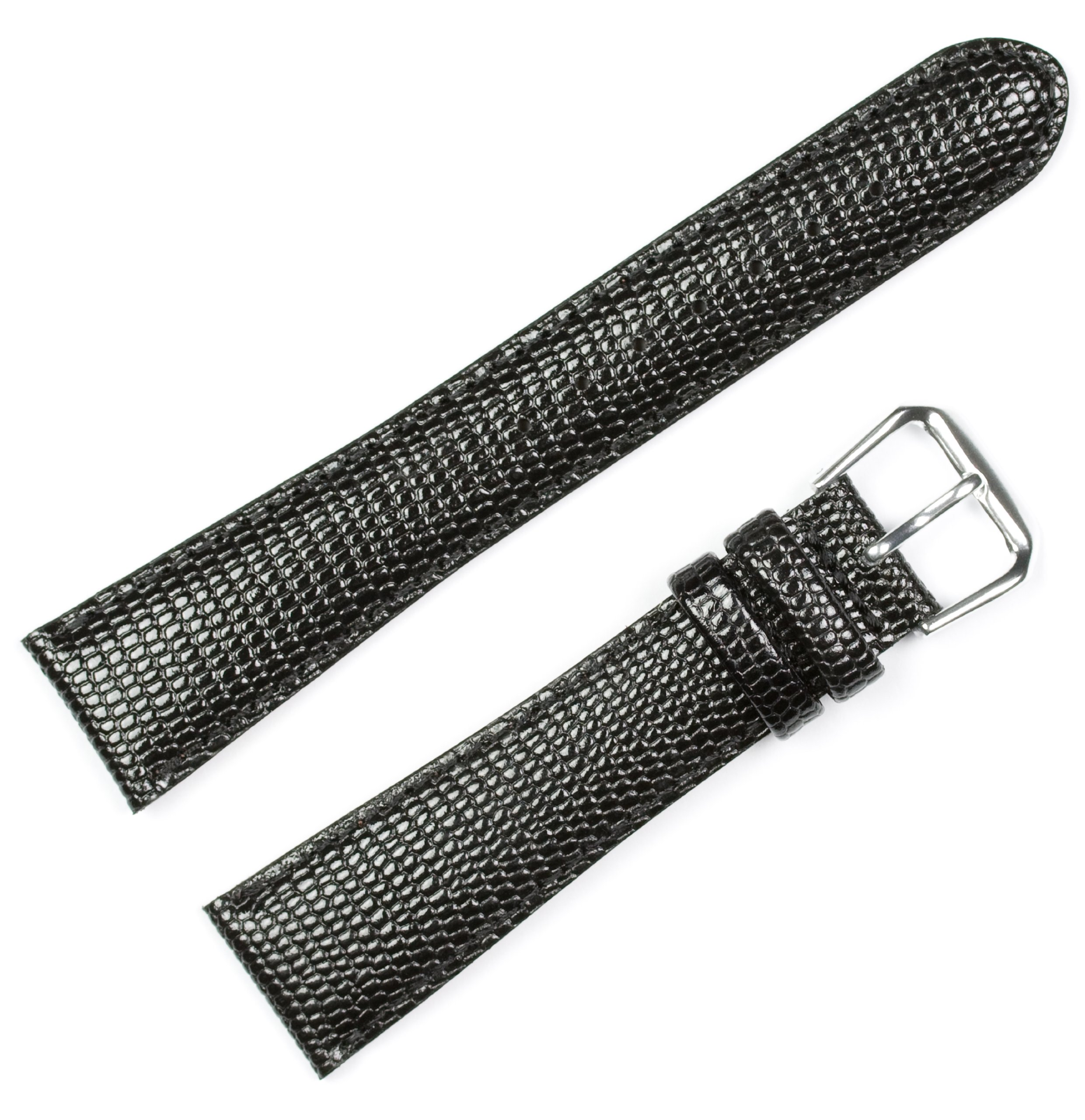 Lizard Grain Watchband Black 20mm Watch band - by deBeer by deBeer (Image #1)