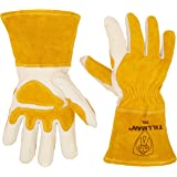 John Tillman and Co 50L Top Grain Leather MIG Gloves with Split Leather Palm Reinforcements, Split Leather Back, Fleece Lining, Seamless Forefinger and Elastic Back (Carded), Large