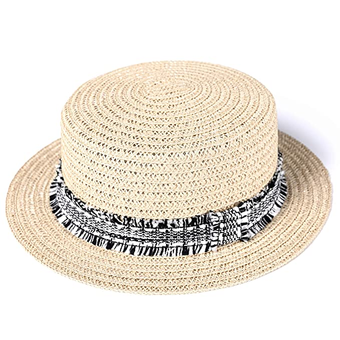 67e413a08 accsa Women UPF50+ Protection Sweatband Adjustable Drawstring Paper Straw  Fedora Boater Panama Sun Hat