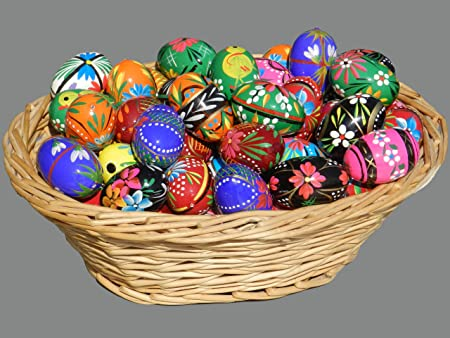 12 Polish Wooden Eggs – Pysanky Wooden Easter Hand Painted Egg