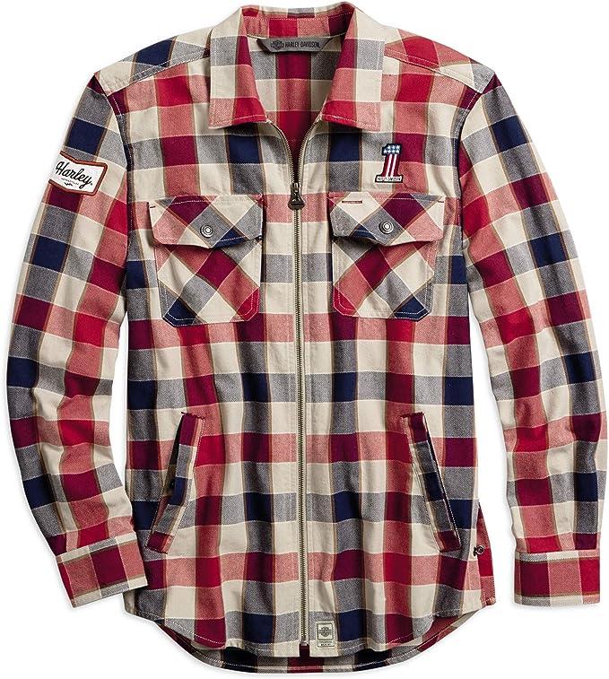 HARLEY-DAVIDSON #1 Camisa a Cuadros con Cierre para Hombre: Amazon.es: Ropa y accesorios