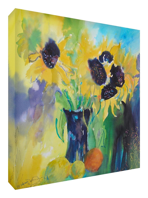 Feel Good Art Leinwand leuchtenden Farben gehören des Künstlers Val Johnson Dandelions/Obst 96x 96x 4cm Größe XXL