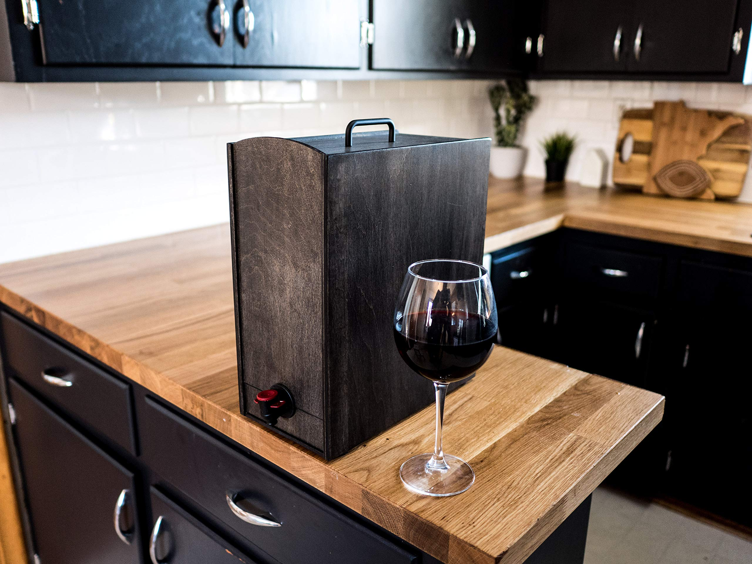 Boxed Wine Wood Case by Winewood | Black Color | Fits 3 Liter and 5 Liter Boxes of Wine | Holder, Dispenser, Cover for Boxed Wine by Winewood Cases (Image #5)