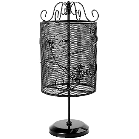 Beautiful Vintage Style Black Metal Wire Mesh Cylinder Floral Design