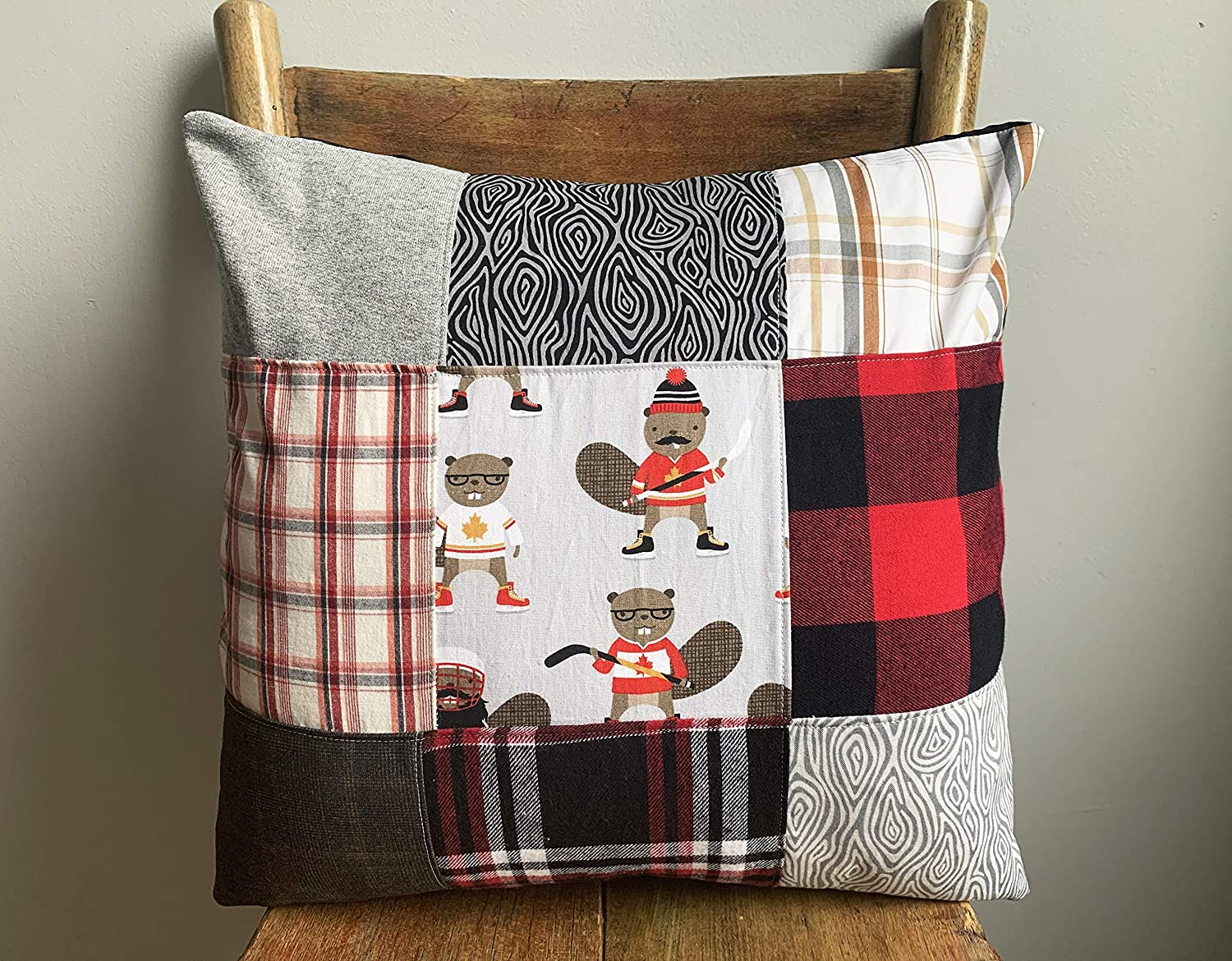 16x16 Lumberjack Rustic Cottage Decor Buffalo Plaid Canadiana Beavers Woodland Style Flannel Cushion Cover Fun Gift Toques Hockey Handmade in Canada Patchwork Pillow Cover Canada Pillow