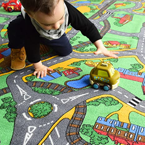 Road Map Playtime Area Rug For Kids 4 X6 Country Green Amazon Ca Home Kitchen