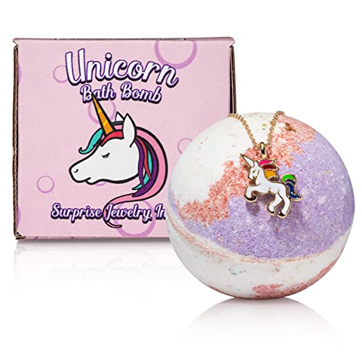 Unicorn Bath Bomb with surprise necklace for girls. Bath bombs for kids that creates a unicorn party with each wash. Perfect holiday or birthday gift for your 4, 5, 6, 7, or 8 year old