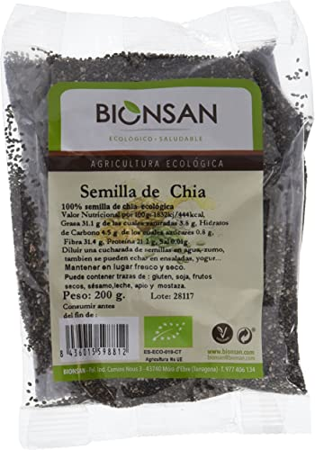 Bionsan Semillas de Chía Ecológicas - 4 Bolsas de 200 g - Total ...