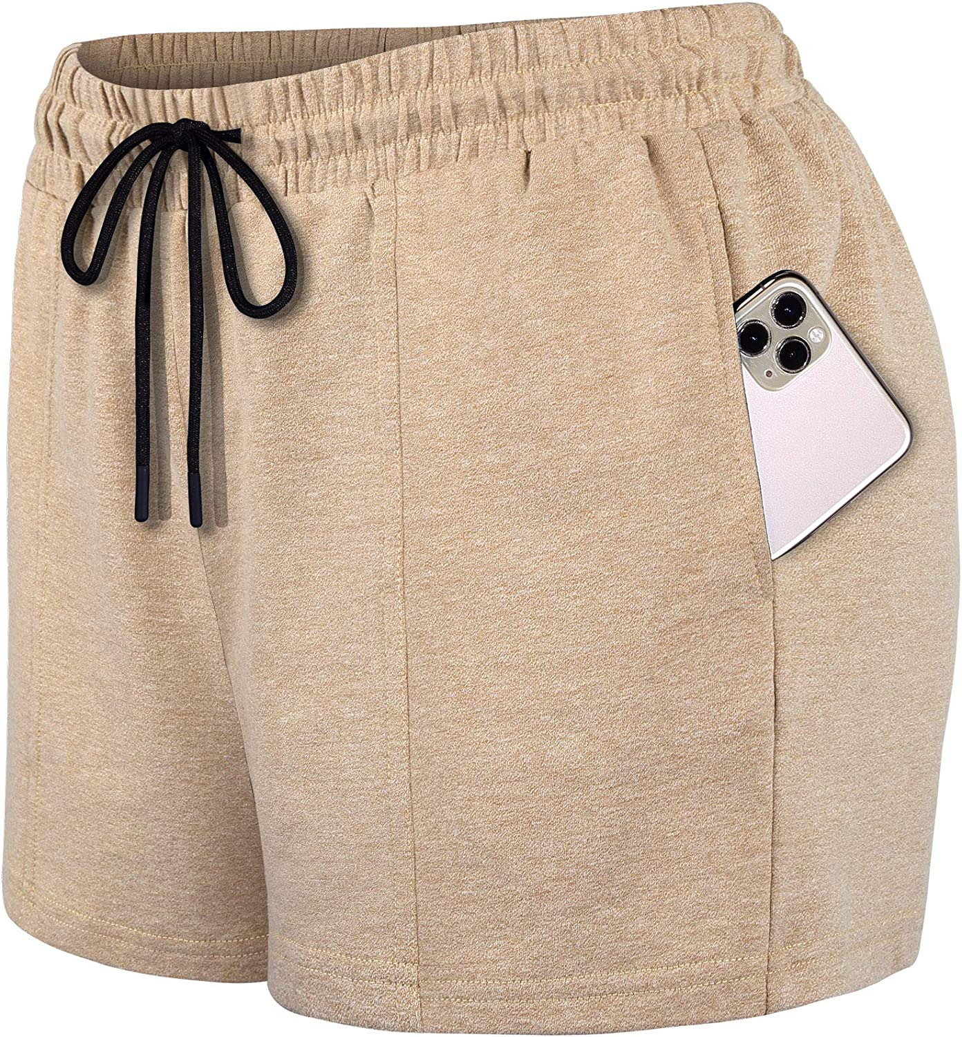 SeSe Code Womens Drawstring Elastic Waistband Workout Sport Shorts with Pockets: Clothing