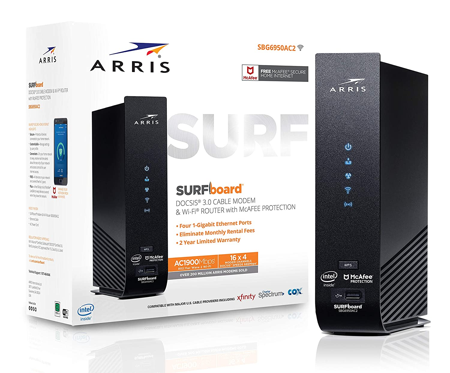 ARRIS SURFboard (16x4) DOCSIS 3.0 Cable Modem Plus AC1900 Dual Band Wi-Fi Router, 686 Mbps Max Speed, Certified for Comcast Xfinity, Spectrum, Cox & more (SBG6950AC2)