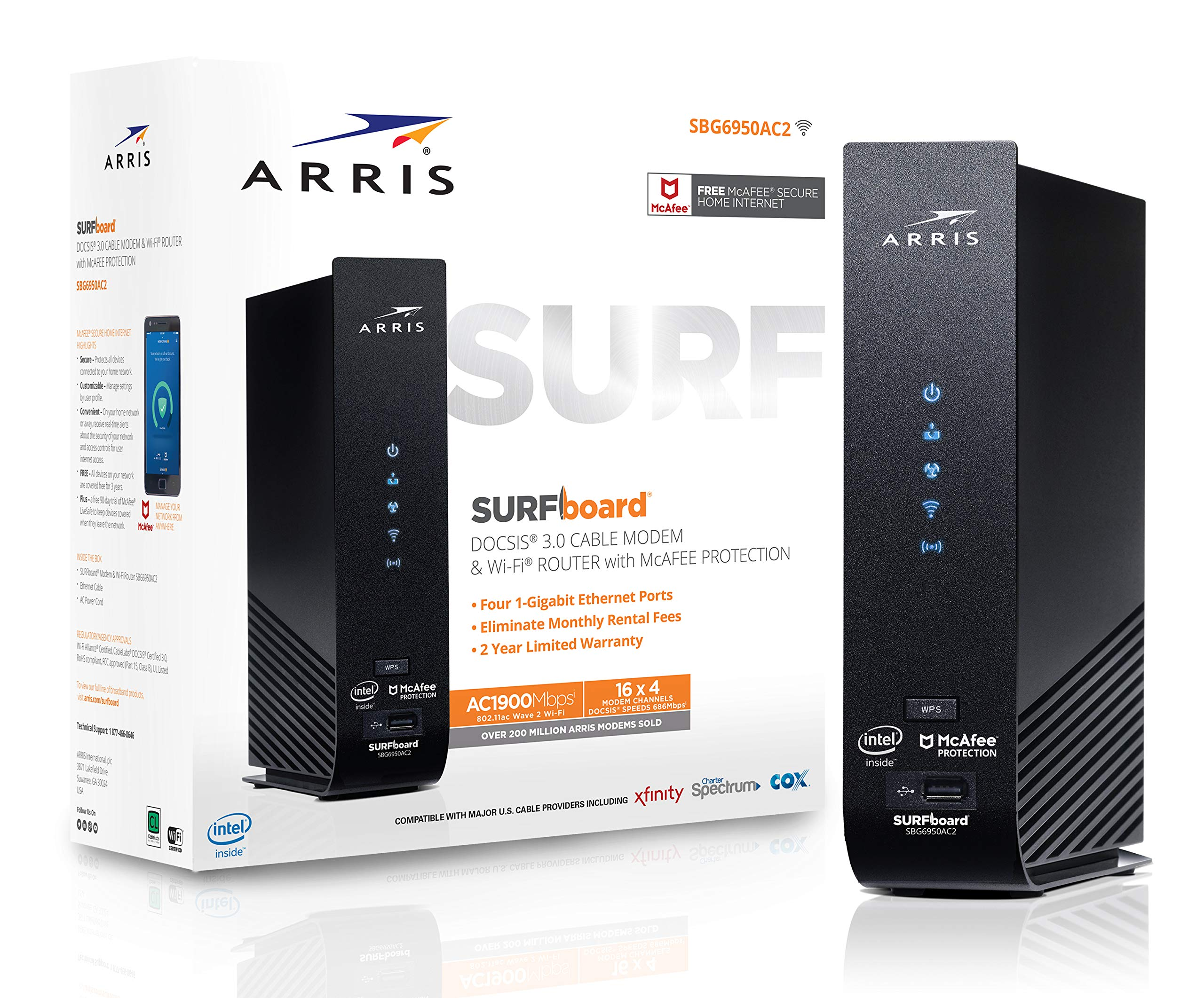 ARRIS SURFboard (16x4) DOCSIS 3.0 Cable Modem Plus AC1900 Dual Band Wi-Fi Router, 686 Mbps Max Speed, Certified for Comcast Xfinity, Spectrum, Cox & more (SBG6950AC2) by ARRIS