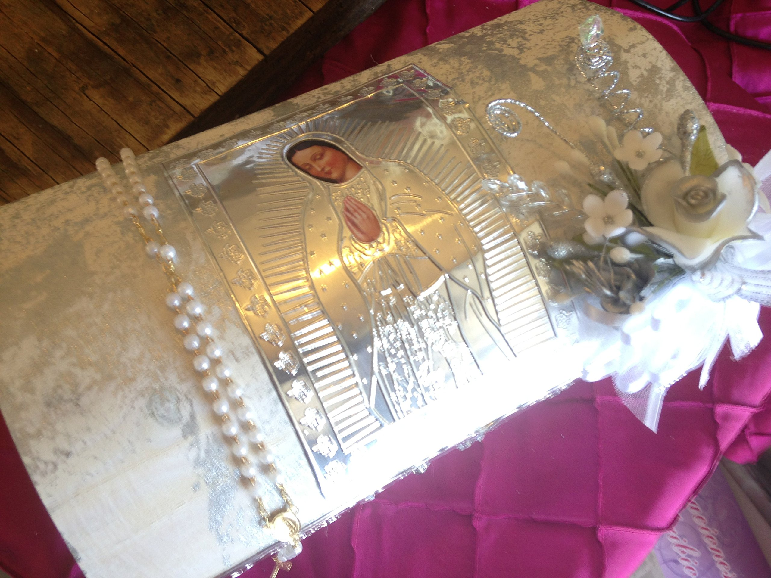 Baptism Candle Set Off White Hand Made Wooden Chest with Virgen De Guadalupe/ Vela Para Bautizo/vela Para Bautismo