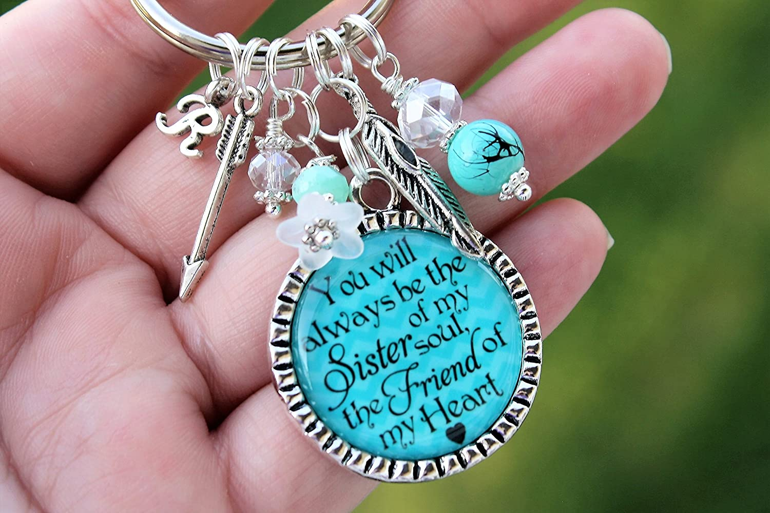You will always be the sister of my soul and the friend of my heart Best Friend Initial Keychain Feather Arrow gift Your choice of color