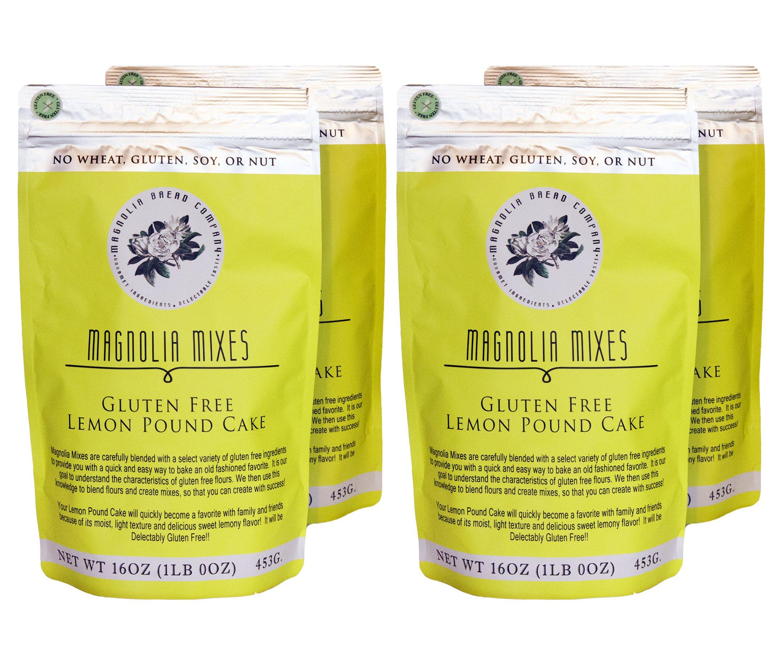 Magnolia Mixes Gluten Free Lemon Pound Cake Mix - 16 oz each (Pack of 4)