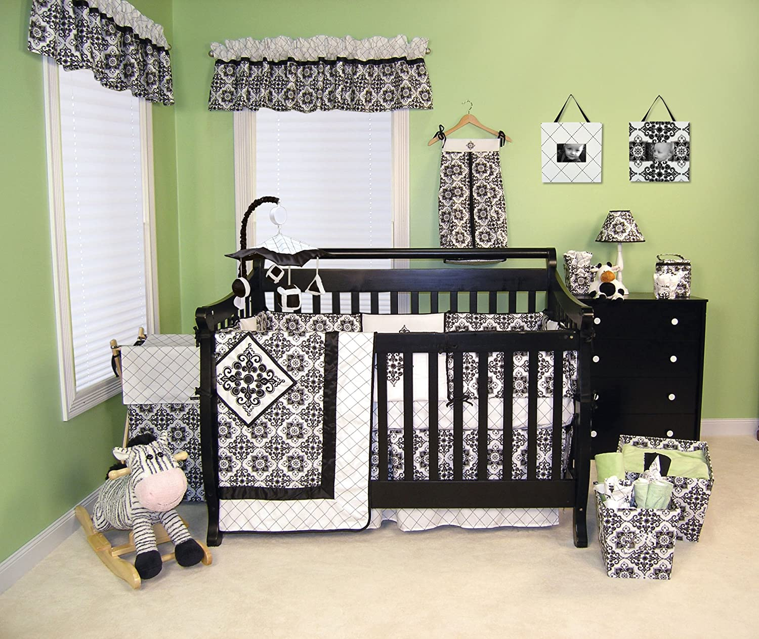 Amazon.com : Trend Lab Versailles Black And White 3 Piece Crib Bedding Set  : Baby