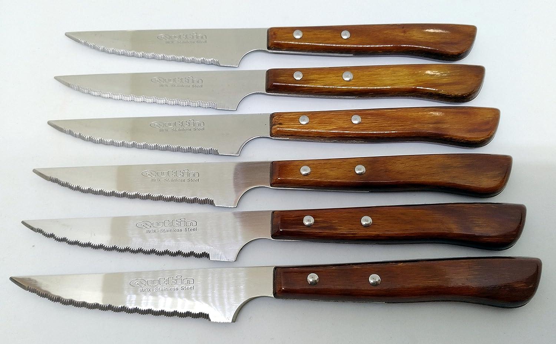 6 CHULETEROS 11CM Cuchillo QUTTIN Sierra DUROFOL: Amazon.es: Hogar