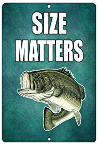Rogue River Tactical Funny Size Matters Fishing Metal Tin Sign Wall Decor Bass Fish Man Cave Bar