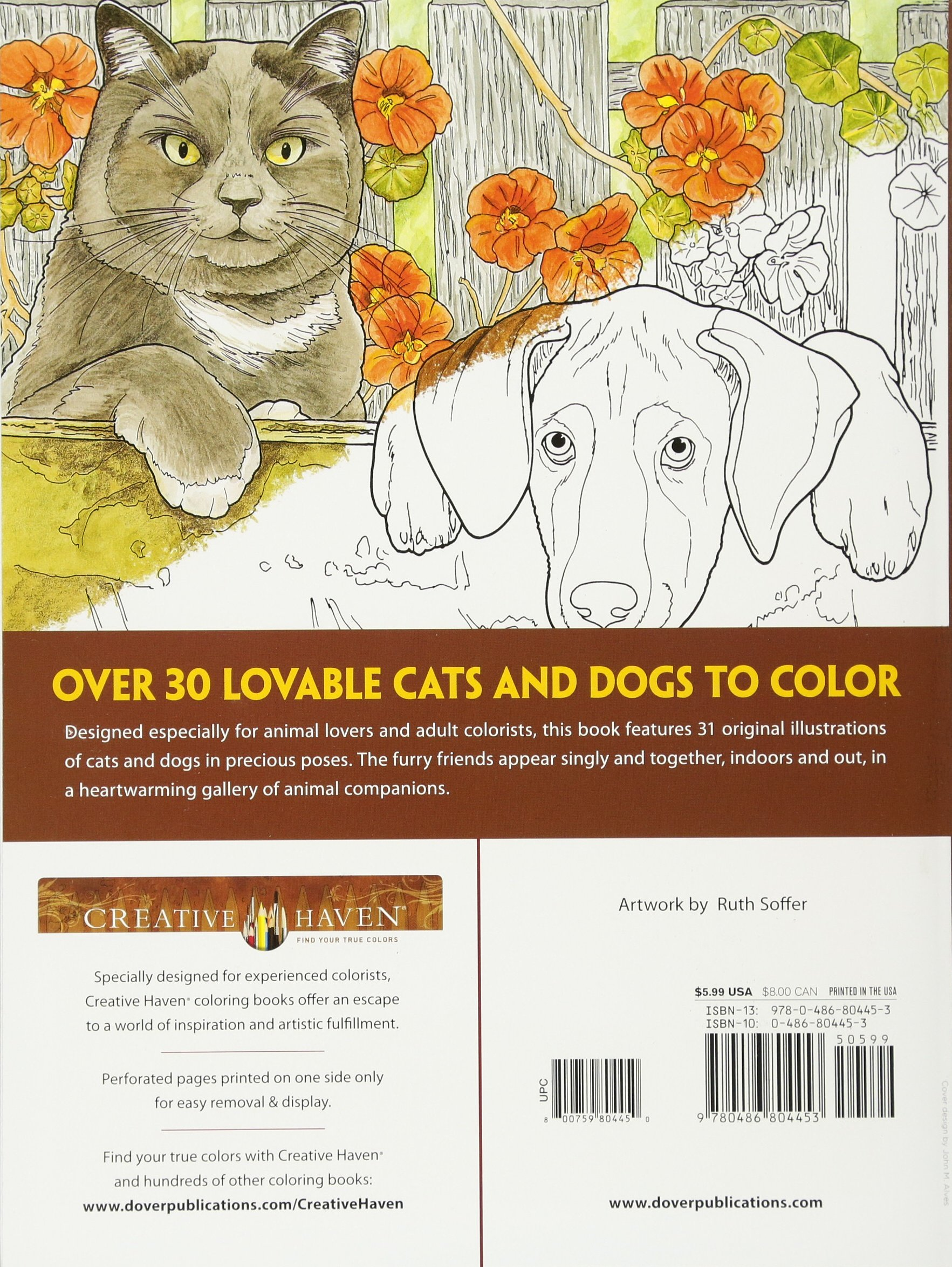 Amazon Creative Haven Lovable Cats And Dogs Coloring Book Adult 9780486804453 Ruth Soffer Books