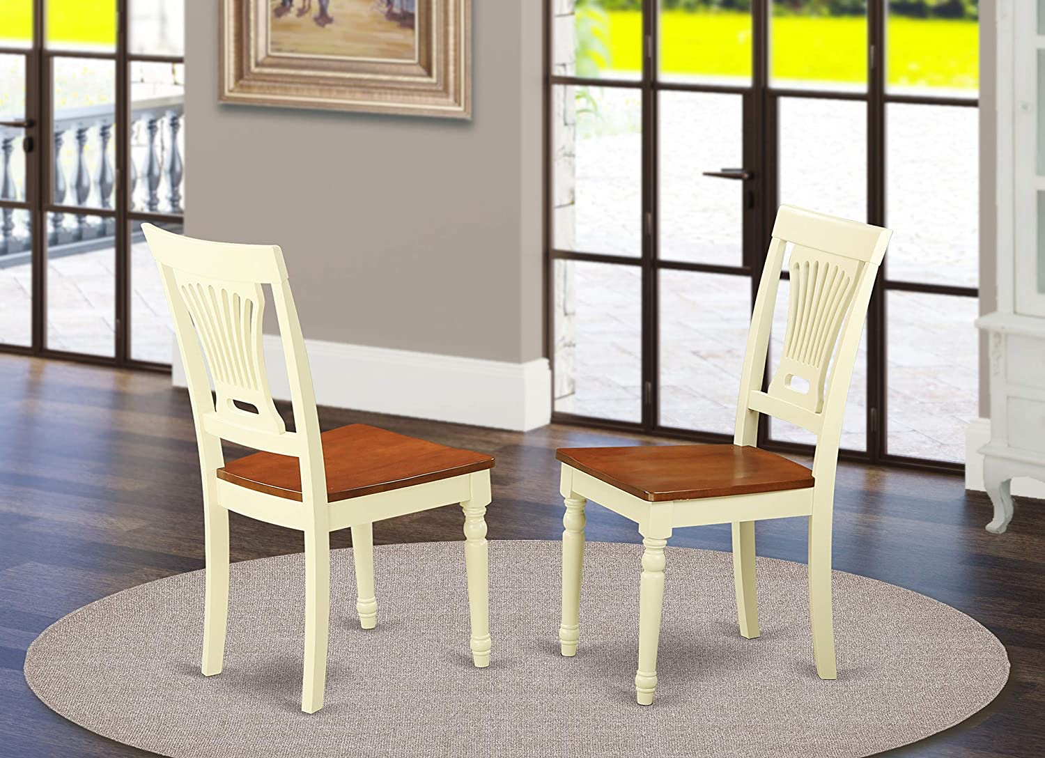 Plainville Kitchen dining Chair Wood Seat – Buttermilk and Cherry Finish