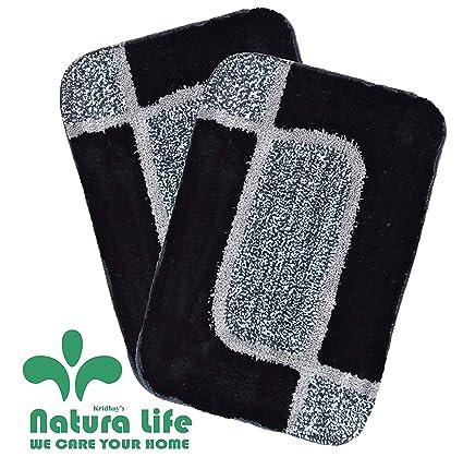Natura Living Micro Fibre Soft Bath Mat (40x60cm, Charcoal) - Pack of 2 Pieces