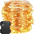 String Lights,Oak Leaf 19.7 Feet 120 LED Waterproof Starry String Copper Wire Lights for Outdoor Indoor With Timer,Battery Operated,Warm White