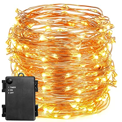 Outdoor Battery Operated Lights With Timer Amazon oak leaf string lights 197 feet 120 led waterproof oak leaf string lights 197 feet 120 led waterproof starry string copper wire lights for workwithnaturefo