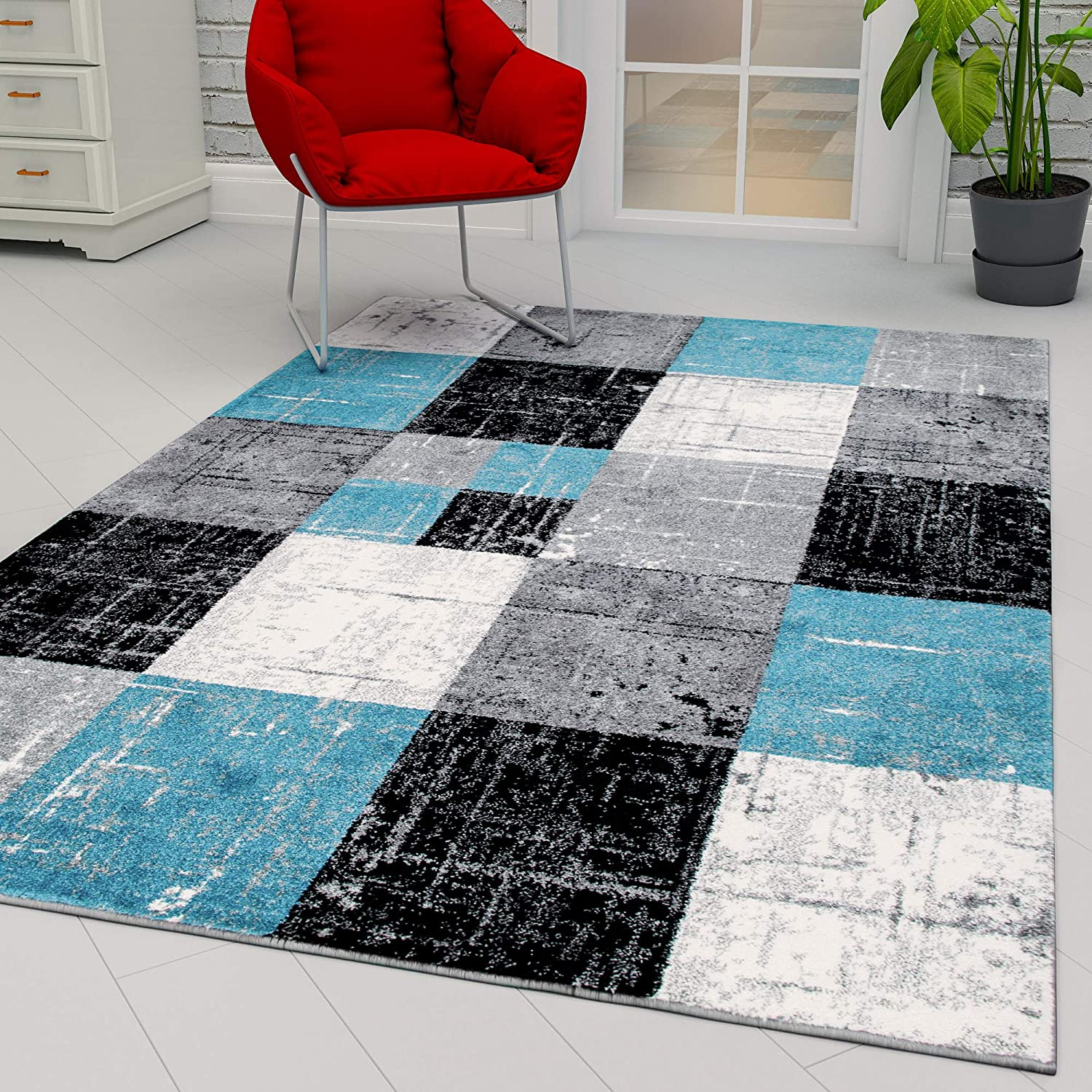 Ottomanson City Collection Modern Area Rug Contemporary Sculpted Effect Faded Geometric Grey Black Rug 5x7 5 3 X 7 3 5 3 X 7 3 Blue Bgrey Checkered Furniture Decor