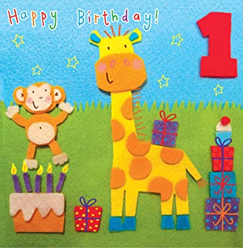 Twizler 1st Birthday Card For Child With Giraffe And Monkey