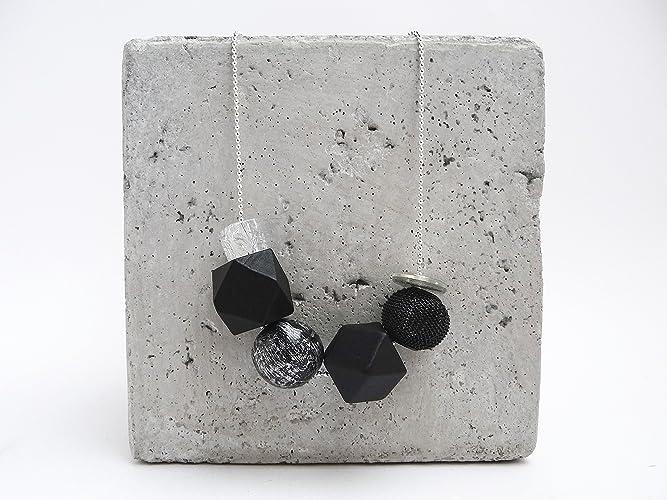 Kugelkette Silber Polygone handlackiert Schwarz Silberglitter in ...
