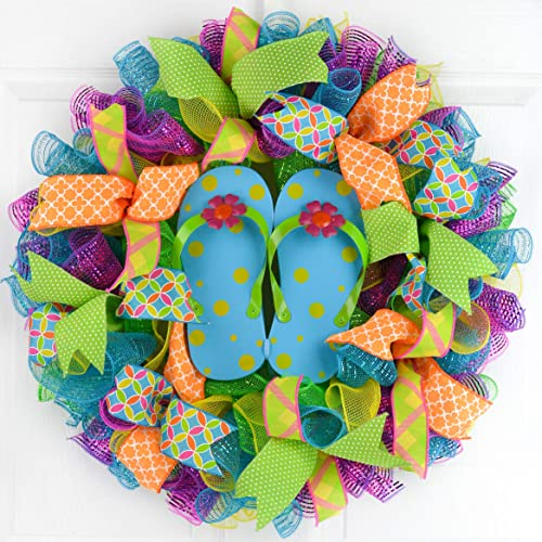 c7a1ec90e Image Unavailable. Image not available for. Color  Summer spring flip flop  welcome deco mesh wreath  pink turquoise lime green yellow