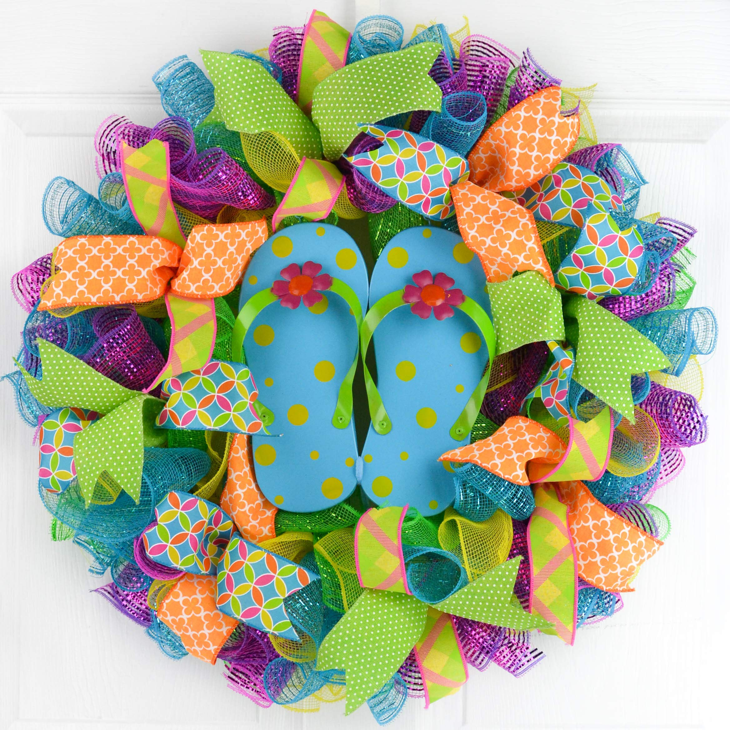 Summer spring flip flop welcome deco mesh wreath; pink turquoise lime green yellow