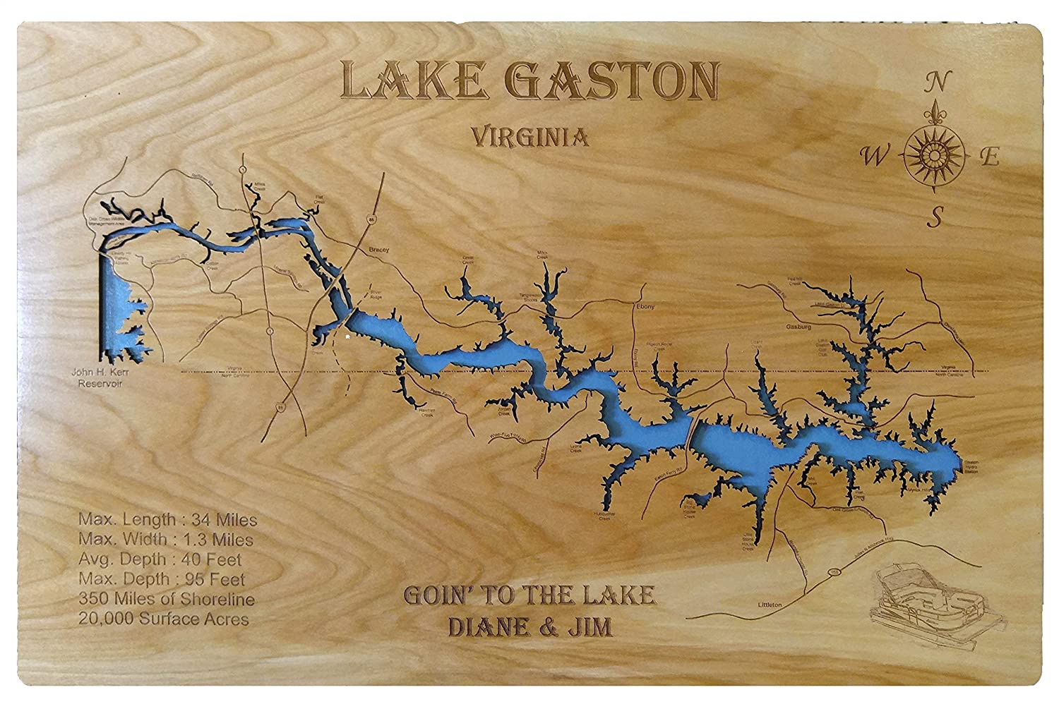 map of lake gaston Amazon Com Lake Gaston North Carolina Standout Wood Map Wall map of lake gaston