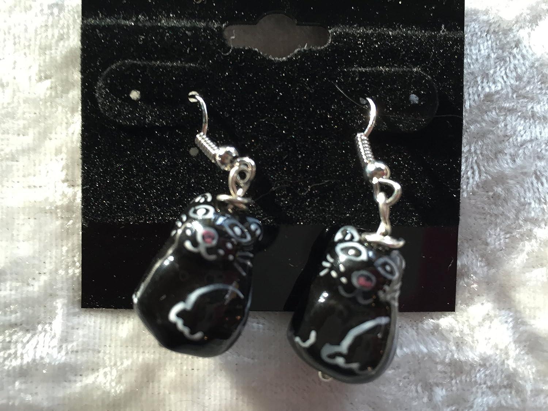 3d ceramic sitting black cat sterling silver dangle earrings
