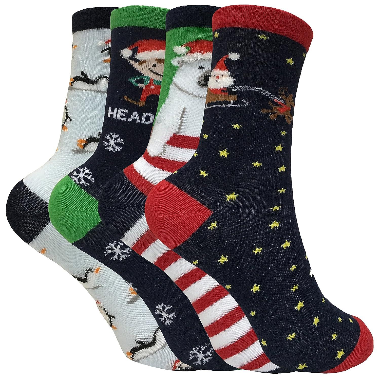 Kids Boys 4 Pack Colorful Festive Cotton Rich Novelty Xmas Christmas Socks SKSNB