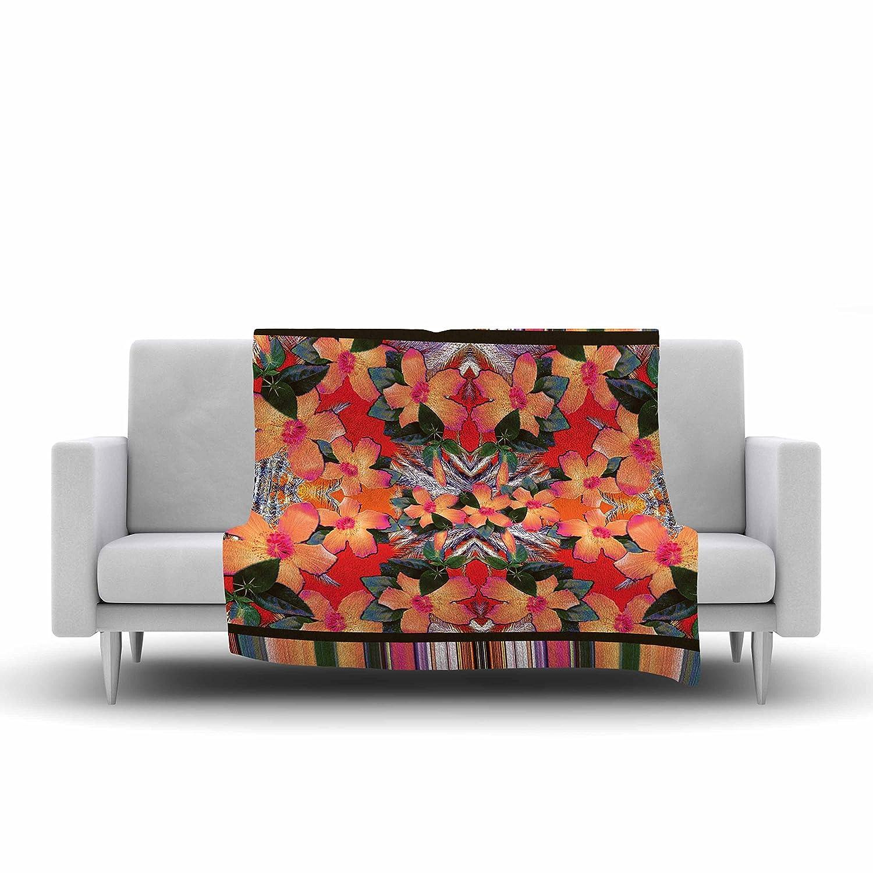 60 by 50-Inch 60 X 50 Kess InHouse Nina May Striped Alohas Orange Fleece Throw Blanket