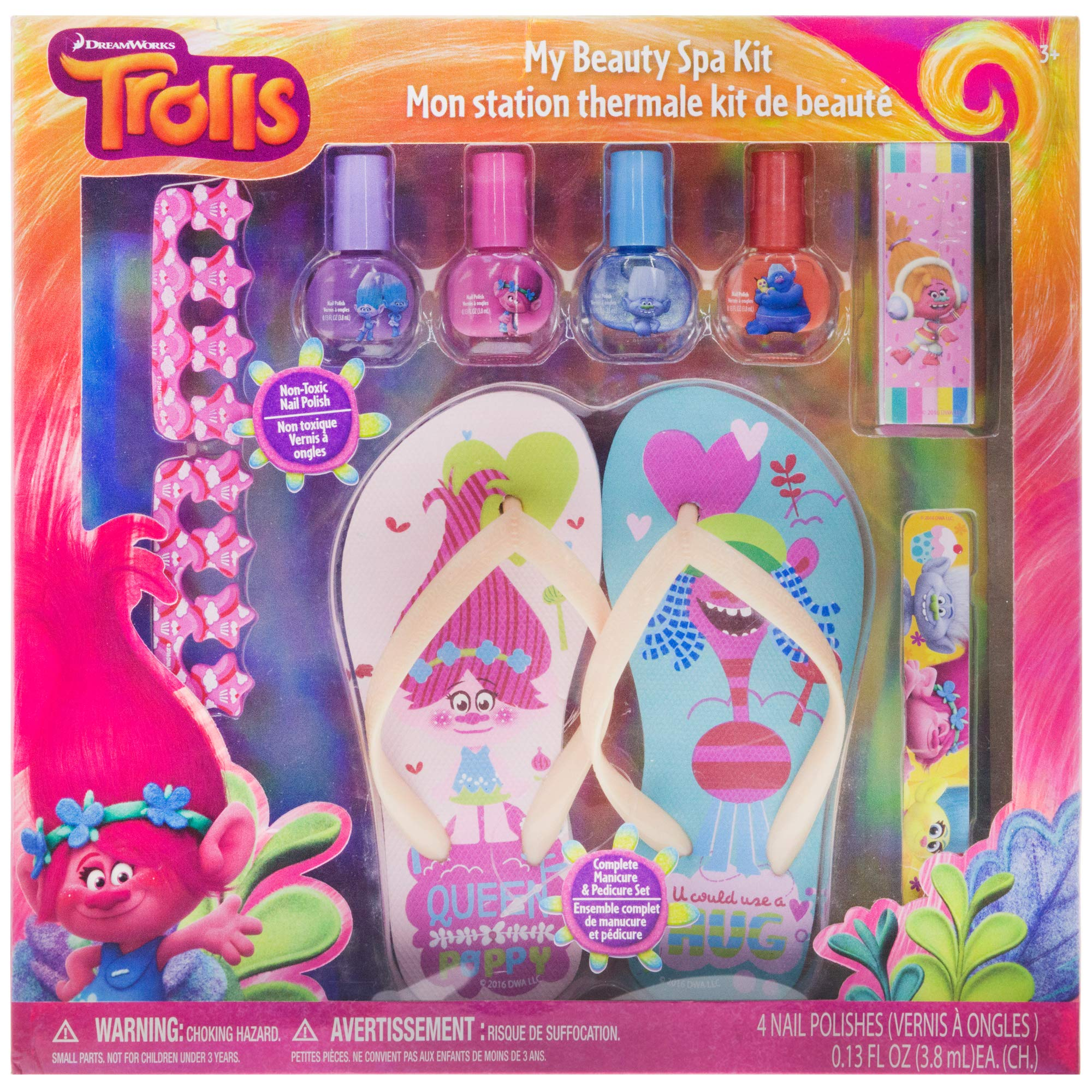 Townley Girl DreamWorks Trolls My Beauty Spa Set Polish, Buffer, File, Sandals and Toe Separators, 10 Piece Set