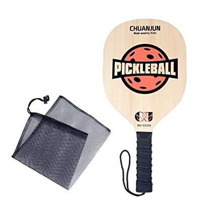 Chuanjun Pickleball Paddle, Graphite Pickleball Racket, Premium Wood/Carbon Fiber Face Honeycomb Composite Core/Ultra Cushion Grip Low Profile Edge Bundle ...