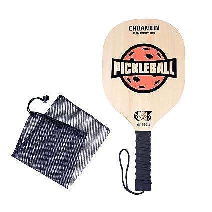 Chuanjun Pickleball Paddle, Graphite Pickleball Racket, Premium Wood/Carbon Fiber Face Honeycomb Composite Core/Ultra Cushion Grip Low Profile Edge Bundle ...