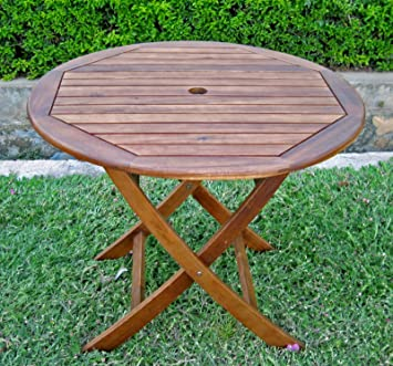 International Caravan VF 4118 IC Furniture Piece 38u0026quot; Round Folding  Table With Curved