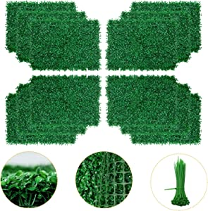 Artificial Boxwood Panel - 12PCS Faux Boxwood Hedge Wall Panels as Greenery Backdrop, 24 x 16 Inch Boxwood Hedge Mat for Indoor Wall Decoration and Outdoor, Balcony, Garden Fence