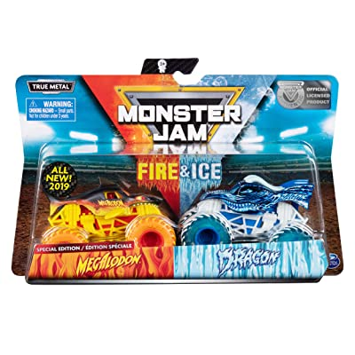 MJ 2020 Spin Master Monster Jam Fire&Ice Megalodon and Dragon Special Edition: Toys & Games