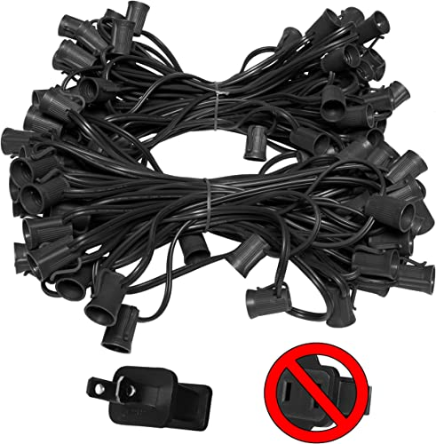 100 C9 Commercial Light Stringer, SPT2 Black Wire, 12 Spacing