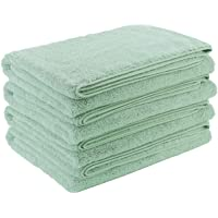 Polyte - Toalla de baño de Microfibra superabsorbente antipelusa - Secado rápido - Verde Claro - 145 x 76 cm - Pack de 4