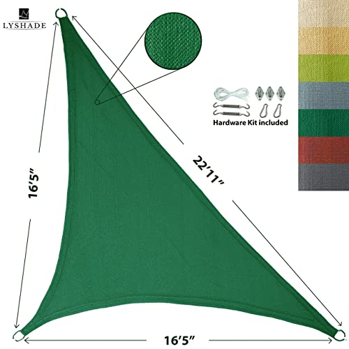 LyShade 16 5 x 16 5 x 22 11 Right Triangle Sun Shade Sail Canopy with Stainless Steel Hardware Kit Dark Green – UV Block for Patio and Outdoor