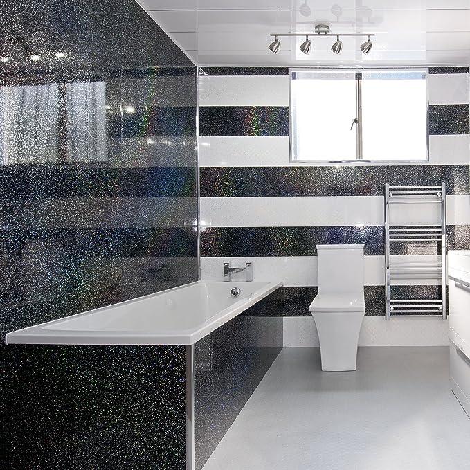 5 paneles de revestimiento negro brillante para pared de ducha, de PVC, efecto diamante.: Amazon.es: Hogar