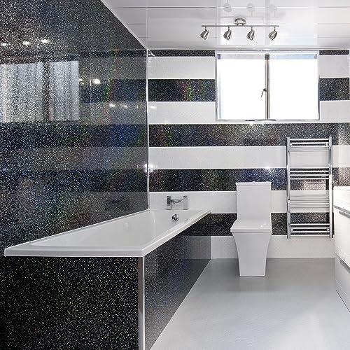 4 White Sparkle Diamond Effect PVC Bathroom Cladding Shower Wall Panels: Amazon.co.uk: DIY & Tools