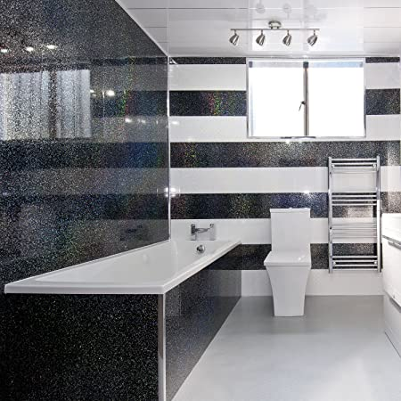 Black Sparkle Diamond Effect PVC Bathroom Cladding Shower Wall - White sparkle bathroom cladding