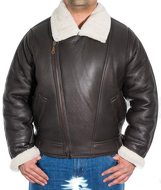Para hombre de Brown de piel de oveja chaqueta americana Crosszip piloto de bombardero de la