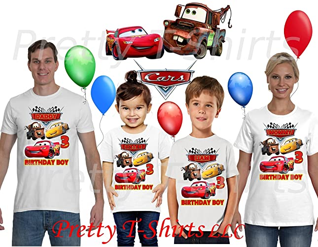 3283a19d0 Amazon.com: Cars Birthday Shirt, ADD any name & age, Birthday Boy ...